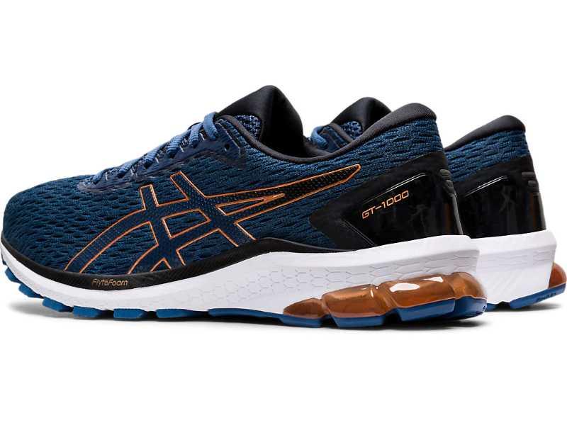 Asics GT 1000 9 chaussures homme bleues arrière trois quarts